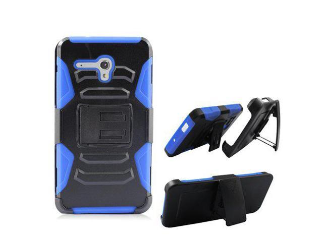 uk availability 6e215 d1fda Straight Talk Alcatel Pixi-Glory LTE A621B / Alcatel Fierce-XL Phone Case  Cover Kickstand Combo Holster Belt Clip (Holster Blue Edge Case) - ...