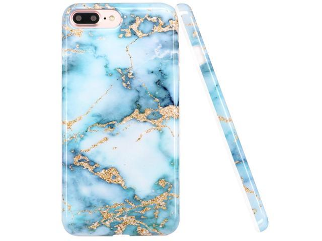 LUOLNH iPhone 8 Plus Case,iPhone 7 Plus Case, Blue and gold Marble Design Slim Shockproof Flexible Soft Silicone Rubber TPU Bumper Cover Skin Case for ...