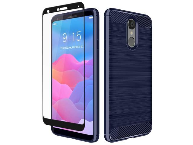 LG Q7+ Case, LG Q7 Case, Aoways Tempered Glass Screen Protector, Thin  Texture Carbon Fiber Shockproof Soft TPU Lightweight Protective Cover for  LG Q7
