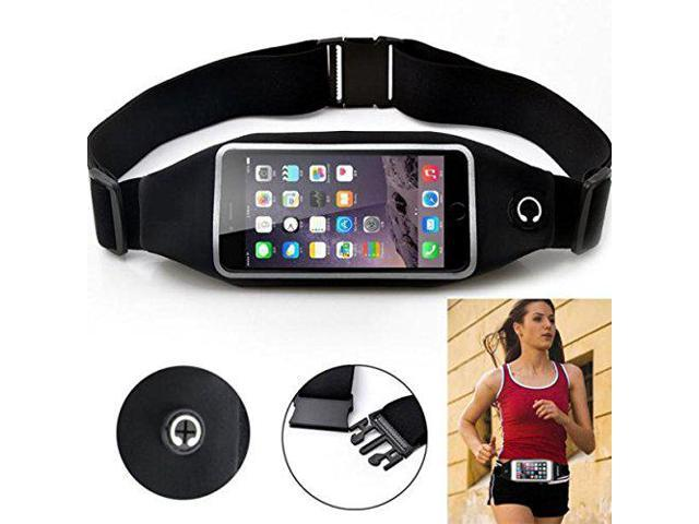 Black Sports Running Workout Waist Bag Belt Case Gym Pouch Reflective Cover  Transparent Touch Screen for Motorola Droid Turbo 2, Moto Z Droid, Force -