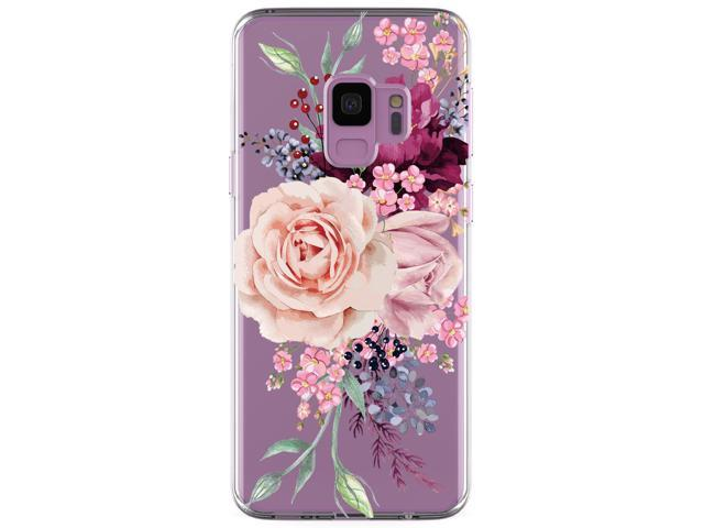 Galaxy S9 Case Jaholan Girl Floral Clear Tpu Soft Bumper Slim Flexible Silicone Cover Phone Case For Samsung Galaxy S9 Pink Rose Flower