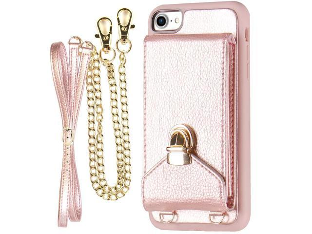 wholesale dealer bae9a c838a iPhone 7 Crossbody Purse for Women, ZVEdeng iPhone 7/8 Crossbody Bags Cell  Phone Purse with Credit Card Holder, Rose Gold - Newegg.com