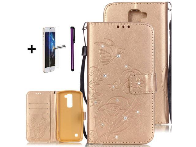 check out db22e 08f3e LG K7 Case, LG Tribute 5 Case, ISADENSER Embossed PU Leather Flip Wallet  Cases Slim Folio Case with Card Slots for LG K7 + 1pcs Tempered Glass  Screen ...