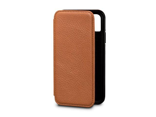 free shipping 493ea ce3ed Sena Wallet Book - Genuine Leather Book Style Folio Wallet with Kickstand &  Card Slots for iPhone XS/iPhone X - Tan - Newegg.com