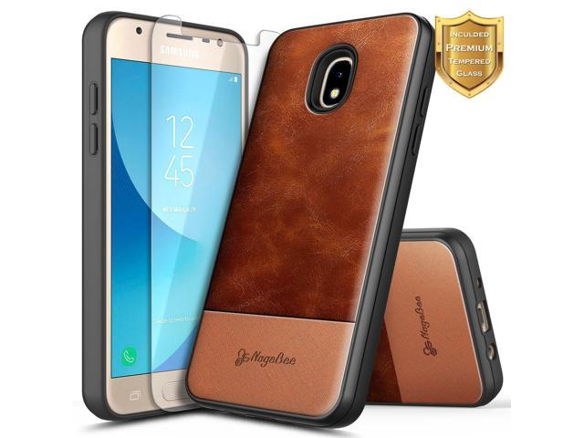 uk availability b9fb9 9d047 Galaxy J7 Star Case, J7 Refine/J7 Crown/J7 TOP/J7 V 2nd Gen/J7 Aura  w/[Tempered Glass Screen Protector], NageBee Premium [Cowhide Leather]  Heavy Duty ...