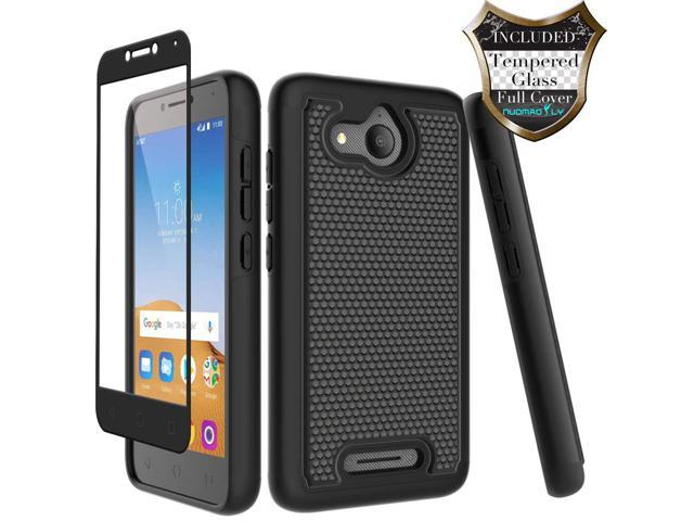 Alcatel Tetra Case with [Tempered Glass Screen Protector] Nuomaofly Rugged  Heavy Duty Shock-Absorption Protective Case for Alcatel Tetra (Black) -