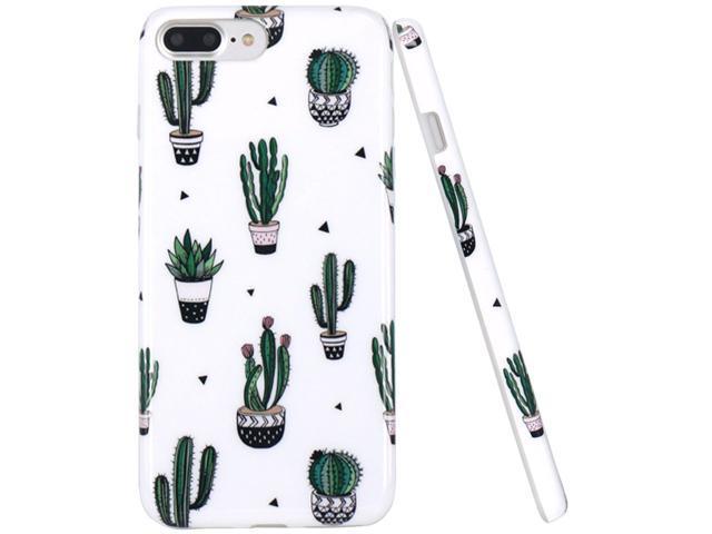 iPhone 7 Case, iPhone 8 Case, JAHOLAN Green Cactus Design Clear Bumper Glossy TPU Soft Rubber Silicone Cover Phone Case for Apple iPhone 7 / iPhone 8