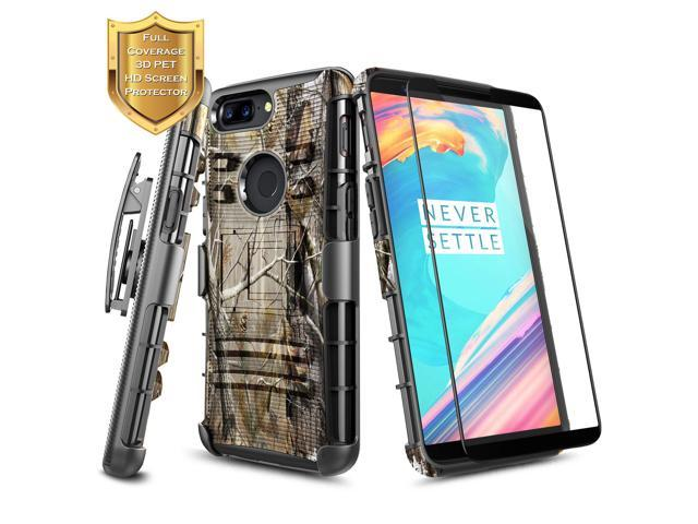 lowest price 491d3 1aaaf OnePlus 5T Case with [Full Cover Tempered Glass Screen Protector] NageBee  [Heavy Duty] Armor Shock Proof Dual Layer [Swivel Belt Clip] Holster ...
