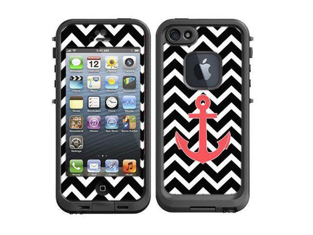 hot sales c5a58 9467b Skins Kit for Lifeproof iPhone 5 Case (skins/decals only) - Chevron Print  Black and White with Red Anchor Sailor - Newegg.com