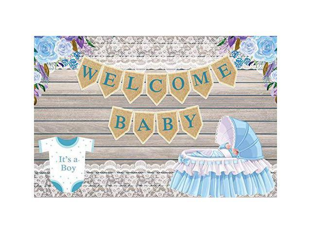 Laeacco Welcome Baby Backdrop 7x5ft Vinyl Photography Background Baby Shower Background It S A Boy Little Prince Coming Lace Flowers Baby Cart Wooden Background Newborn Baby Boy Blue Tone Newegg Com