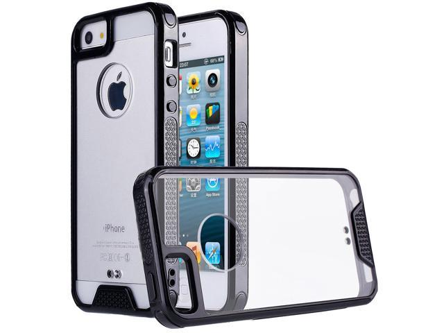 wholesale dealer e72f8 150ab iPhone SE Case,iPhone 5 Case,iPhone 5S Case, Ultra Slim Shock-Absorption  Hybrid Soft TPU Side and Clear Hard Acrylic Back Panel Anti-Scratch Case  for ...