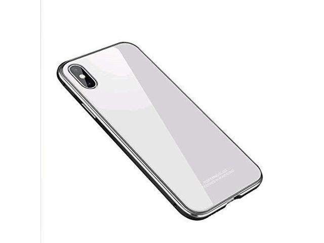 san francisco 5272a 5ab8a MOBYFL iPhone X Case, Slim Transparent Tempered Glass Back Case Shockproof  Metal Frame Bumper, Anti-Scratch Hard Cover Case for Apple iPhone X/iPhone  ...