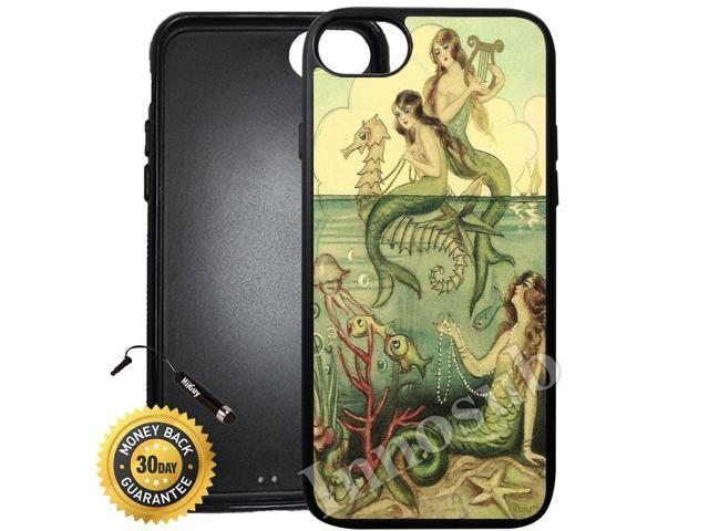 more photos e2fcd 9a149 Custom iPhone 8 Plus Case (Vintage Mermaid Seahorse Illustration)  Edge-to-Edge Rubber Black Cover with Shock and Scratch Protection |  Lightweight, ...