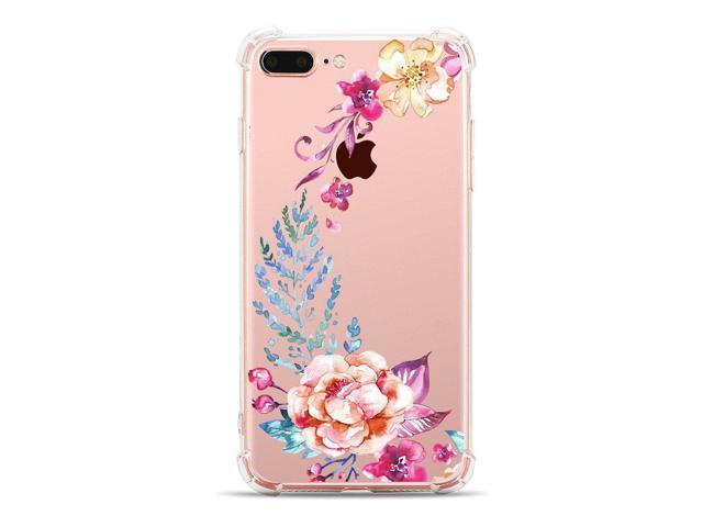 brand new cf85a b2ec6 iPhone 7 Plus,iPhone 8 Plus Cover,Hepix Watercolour Flower Pattern Printed  Clear Design Transparent TPU Case with Bumper Protective Case Cover for ...