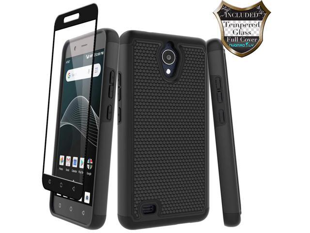 AT&T AXIA Case (QS5509A), Cricket Vision Case with [Tempered Glass Screen  Protector] Nuomaofly Rugged Heavy Duty Shock-Absorption Protection (Black)  -