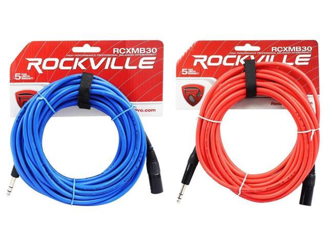 2 Rockville 30' Male REAN XLR to 1/4'' TRS Balanced Cable (Red and Blue) -  Newegg com