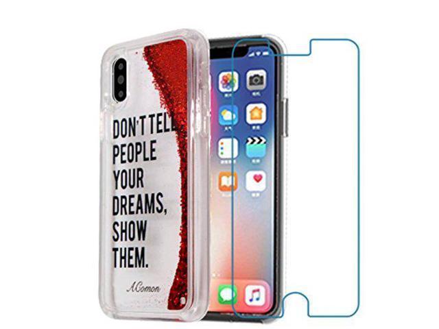 competitive price 72355 6d103 Acomon iPhone X Case Cool Glitz Bling Glitter Moving Case with Free Temper  Glass Screen Protector TPU Bumper Case - Newegg.com