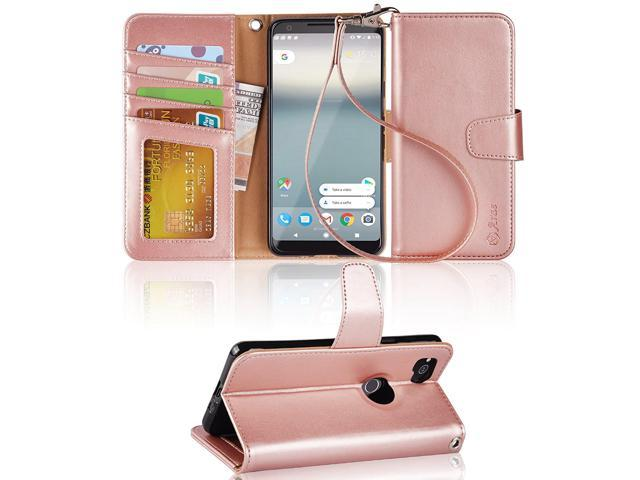 the latest 69e14 155b3 Google Pixel 2 case,Arae PU Leather Wallet Case with 3 Card Pockets  Protective Case Flip Cover for Google Pixel 2 - Rose Gold - Newegg.com
