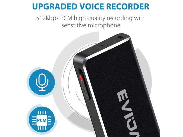Mini Voice Recorder for Lectures Meetings,EVIDA 8GB Digital USB Sound Audio Recorder Mac Compatible Dictaphone 36 Hours Recording Device,USB,Rechargeable