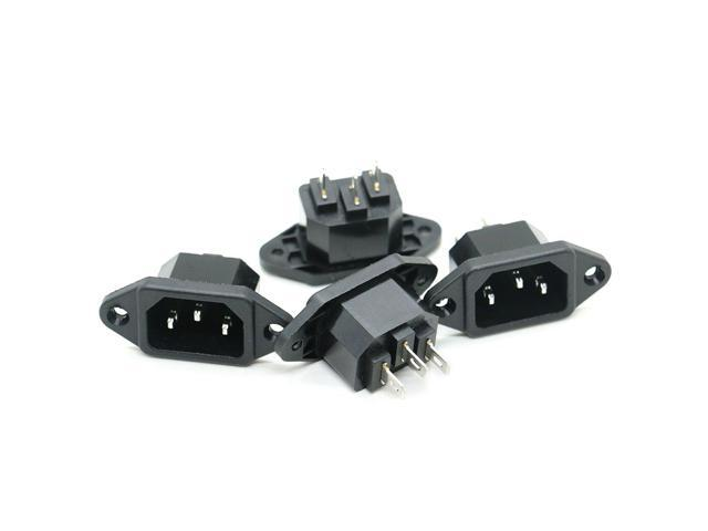 uxcell 4 Pcs AC 250V 10A IEC 320 C14 Panel Mount Plug Adapter Power Connector Socket
