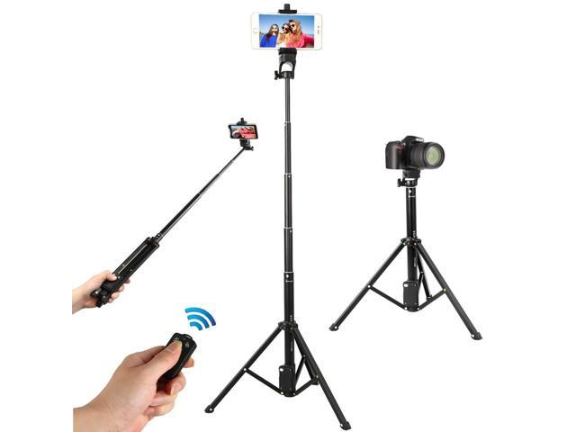 WAAO Selfie Stick Tripod, 54 Inch Adjustable iPhone Tripod, Extendable  Camera Tripod for Cellphone and Camera, with Wireless Remote Compatible for