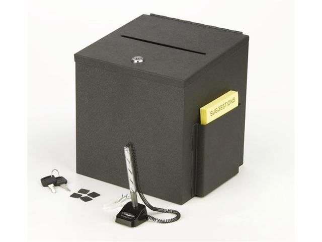 STBOXSLV Silver Metal Suggestion Box for Tabletop or Wall Mount Use Displays2go Ballot Box with Locking Hinged Lid and Side Pocket for Forms Not Included