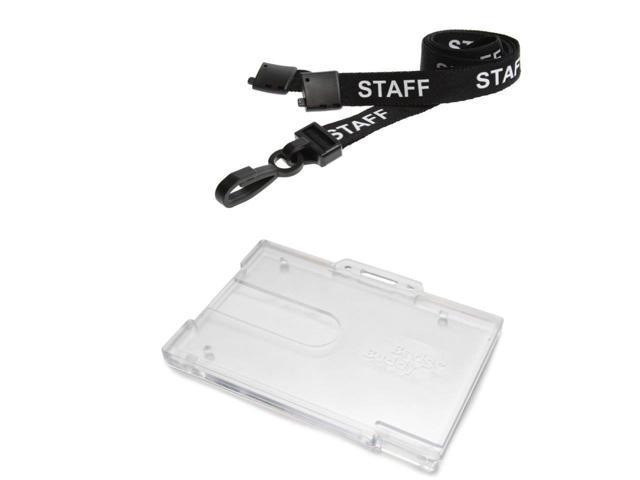 ID Card It ID Badge Holder Horizontal Badge Buddy and Printed Black Staff  Neck Strap Safety Breakaway Lanyard- 5 - Newegg com