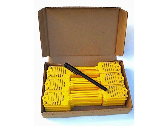 Auto Key Tags - Yellow self Locking Car Key Tags Made of Waterproof Plastic    Box of 200 Auto Tags   NO Folding, NO Key Rings, NO Laminated Key Tags