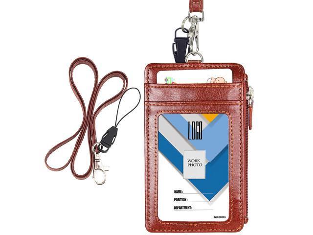 Leather ID Badge Holder Zipper Pocket Neck Lanyard--SEE DESCRIPTION FOR PICS