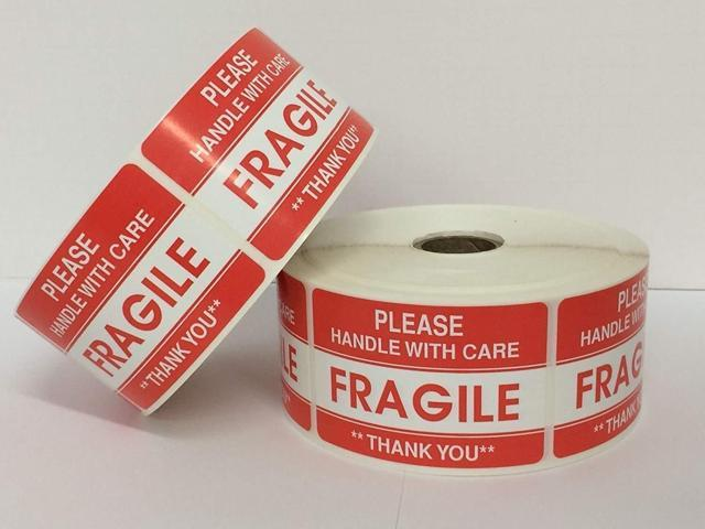 Easy Peel and Apply 1 Roll 1000 1 x 3 FRAGILE HANDLE WITH CARE Stickers Labels