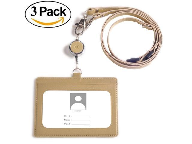 70ecae51e2ad Badge Holder retractable, U-BIKU 2-Sided PU Leather ID Card Holder with 1  ID Window and 2 Card Slot, 1PC Retractable Reel Lanyard,1 PC Neck Lanyard  ...