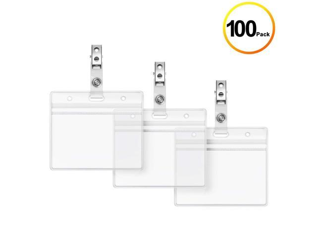 bcf39e59e40f Clear Plastic Horizontal Name Tag Holders and Metal Badge Clip with Vinyl  Straps Waterproof PVC ID Card Holder by LONOVE (100 Pack, Horizontal ...