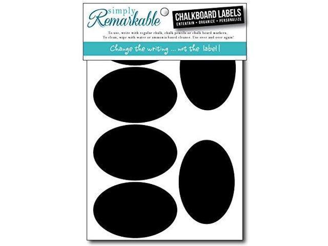 Organizer Jar Labels 10 Chalkboard Stickers Oval Shapes