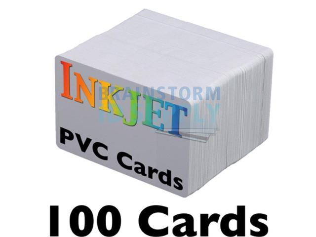 Inkjet PVC Cards (100 Pack) - Inkjet Printable PVC ID Cards with Brainstorm  ID's Enhanced Ink Receptive Coating - Waterproof and Double Sided Printing