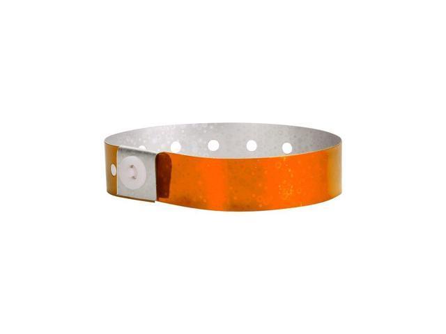 Wristco Holographic Orange Plastic Wristbands 100 Pack Wristbands For Events Newegg Com