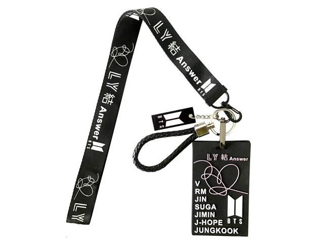 84252c9af7af0 BTS Love Yourself ? 'Answer' Merchandise Silicon ID Card Badge Holder with  Lanyard/Detachable Metal Clip and Key Ring for A.R.M.Y (Black-Long) - ...