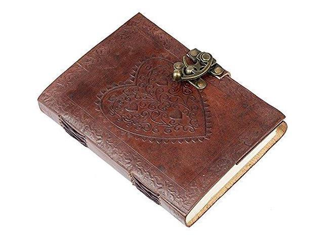 Handmade Real Leather Journal Book Cover Brown Diary Notebook Sketch 3D Emboss