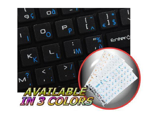 FRENCH AZERTY KEYBOARD STICKERS WITH BLUE LETTERING TRANSPARENT BACKGROUND