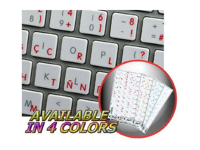PORTUGUESE BRAZILIAN KEYBOARD DECALS ON TRANSPARENT BACKGROUND WITH BLUE WHITE OR YELLOW LETTERING Red RED