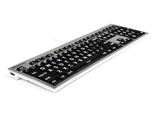 Logickeyboard Large Print Apple white on black keyboard compatible with Mac OS X v10 or later # LKBU-LPRNTWB-AM89-US