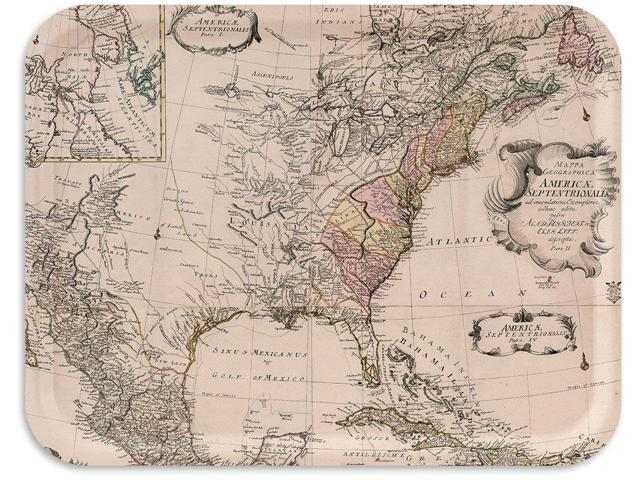 Trays4Us USA East Coast 1753 Vintage Map Birch Wood Veneer 16x12 inches  (Large) TV/Serving Map Tray - 100+ Different Designs