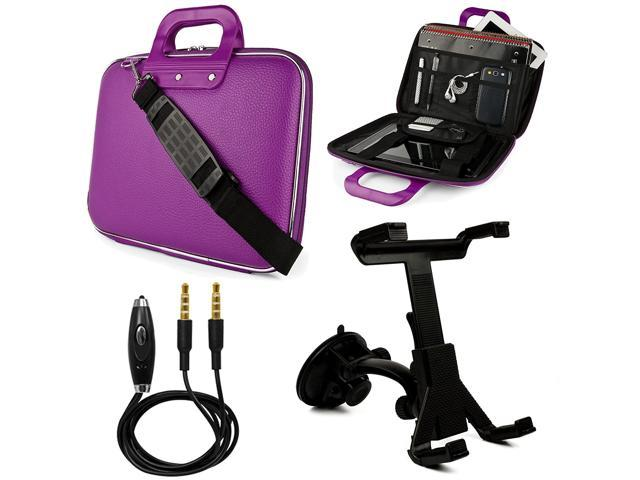 SumacLife Cady 9 to 10.1-inch Tablet Messenger Bag for Kocaso Tablets with Windshield Mount & 3.5mm Auxiliary Cable (Purple)