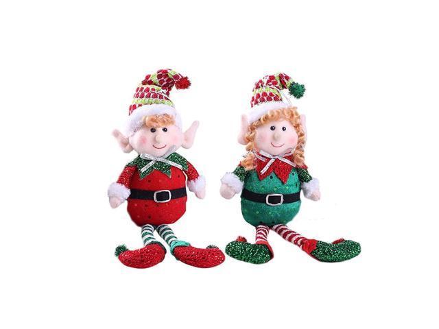 Christmas Cute Red And Green Long-Legged Elf Christmas Doll Gift Desktop Decoration Doll Christmas