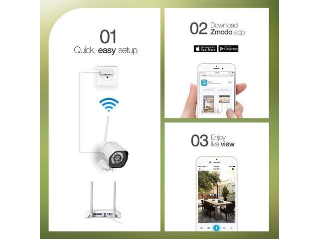 Zmodo 2 1280*720p HD IP Network Wireless Outdoor Home Security Camera  System - Newegg com