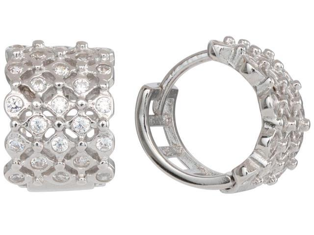 Clear Cubic Zirconia Lightning Design Huggie Earrings Rhodium Plated Sterling Silver