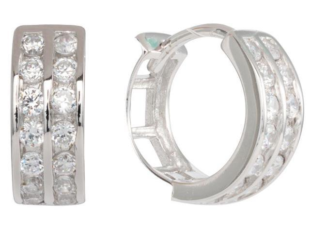 77708bd7b 925 Sterling Silver Huggie Hoops with 2 row CZ Earrings (5MM x9MM) Rhodium  Plated EH002-9MM