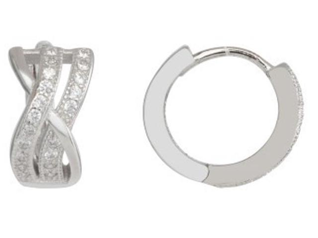 3c302f98a 925 Sterling Silver Double X Style Huggie Hoops Earrings Cubic Zirconia  (CZ) Rhodium Plated BS12-73ZZ