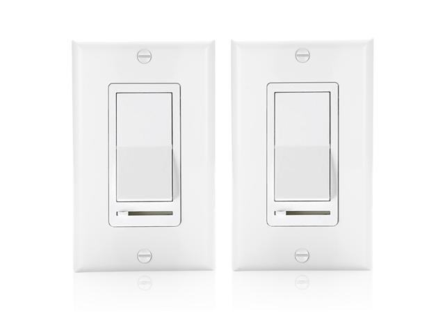 Rocker Light Switch >> 2 Pack Bestten Decorative Rocker Light Dimmer Switch With Horizontal Slider Side Adjuster For Incandescent Or Halogen Bulbs Cfl And Led Dimmable