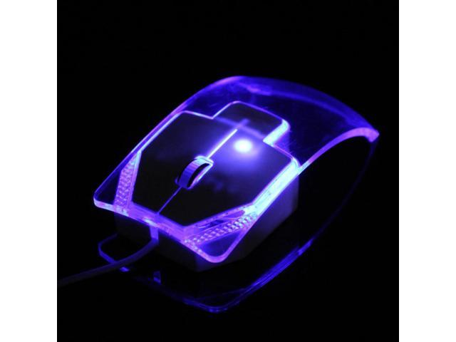 Transparent Led Optical Wired Mouse Beautiful Blue Light USB Mouse Mice For Computer PC Laptop Desktop+Retail Box Video