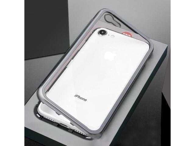 buy popular eb857 6a2a7 Ultra Slim Magnetic Adsorption Metal Frame Tempered Glass Back Magnet Flip  Case for iPhone 8 & 7(Black + Silver) - Newegg.com
